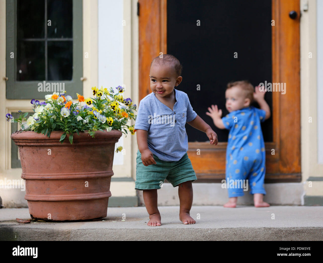 Two Toddler Boys Investigate The Inside Of An Home By Looking