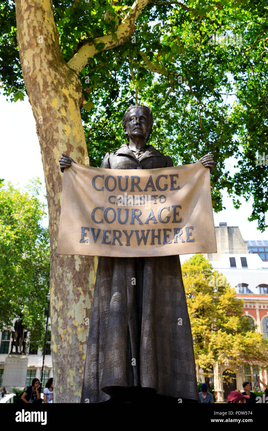 Statue of Dame Millicent Fawcett, Womens suffrage campaigner, in Parliament square, London, England - Stock Image