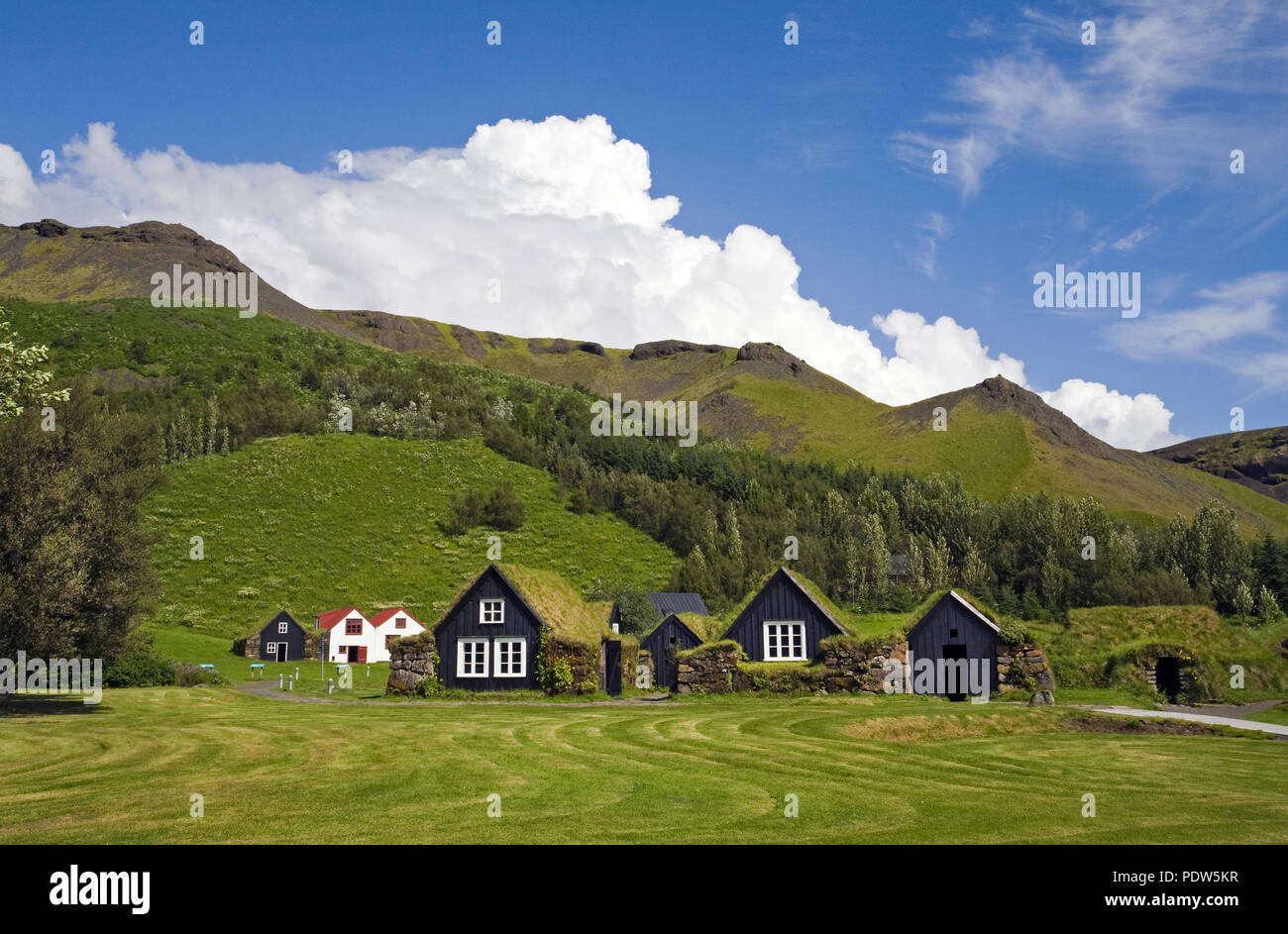 A collection of traditional and authentic Icelandic turf houses and cowsheds, dating from the early 1800s, at the Skogar Folk Museum in the village of - Stock Image