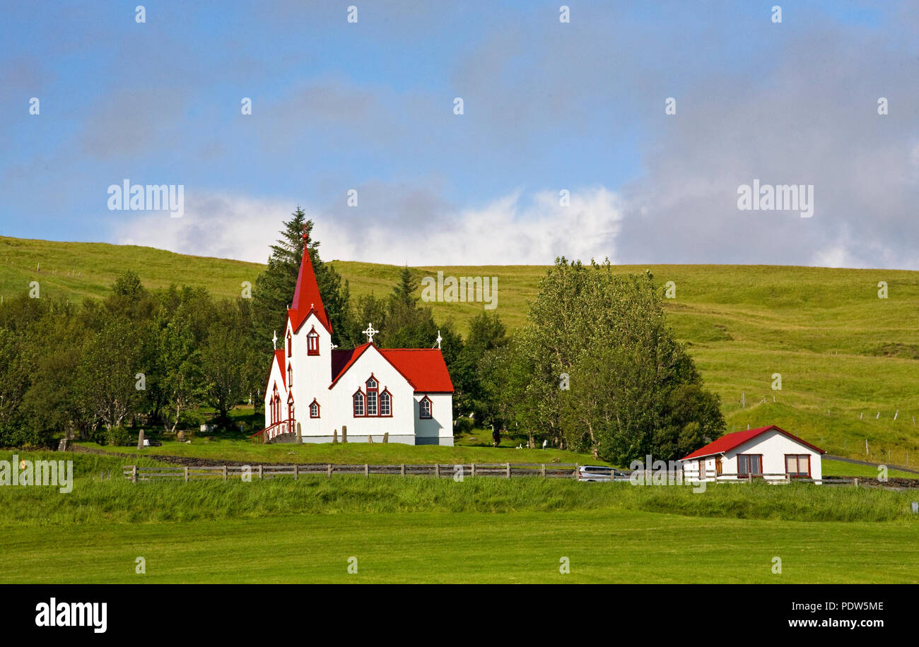A small pastoral Lutheran Church near the town of Hvolsvollur, South Iceland, along the Ring Road. - Stock Image