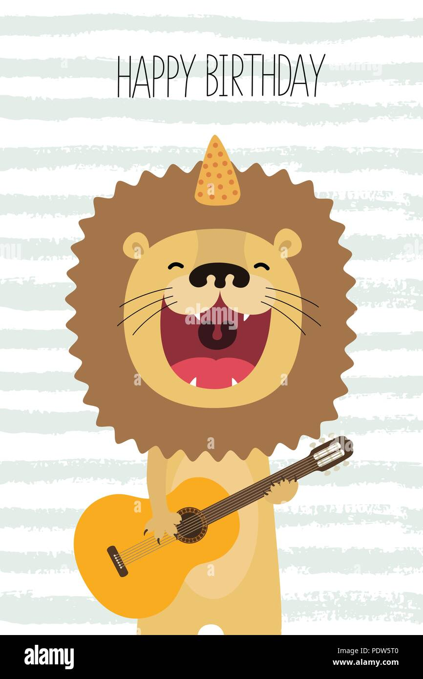 Cute lion sings and plays guitar birthday card - Stock Vector