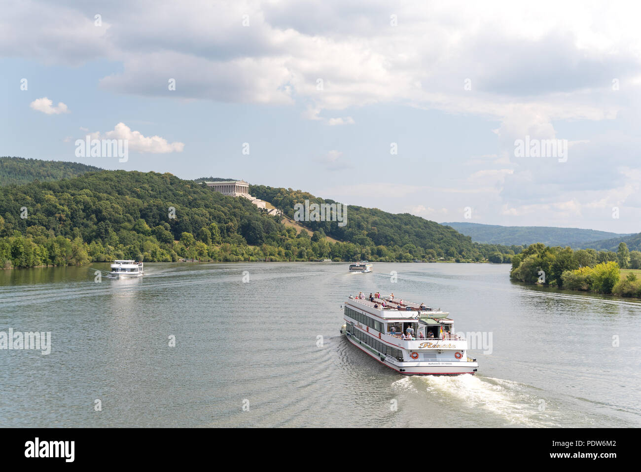Donaustauf, Bavaria, Germany - July 27, 2018 : Renate ship with tourists sails on Danube River to Walhalla memorial, tour tourism and famous places - Stock Image