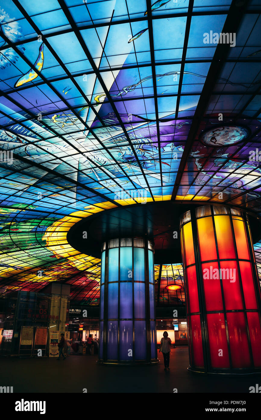Kaohsiung, Taiwan - May 7, 2018 : The Dome of Light at Formosa Boulevard station Stock Photo