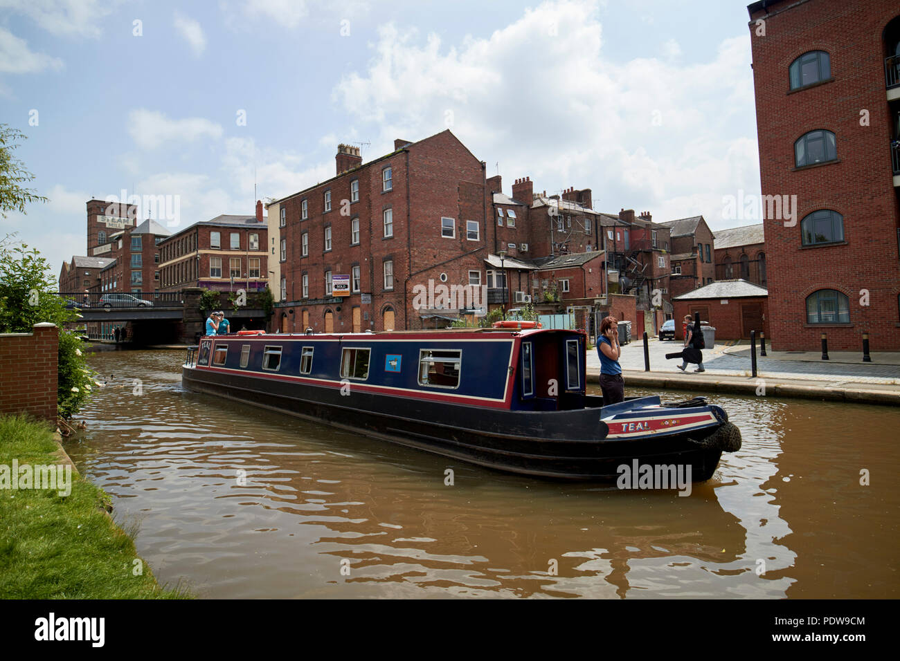 canal narrowboat on the Shropshire union canal main line in chester cheshire england uk - Stock Image