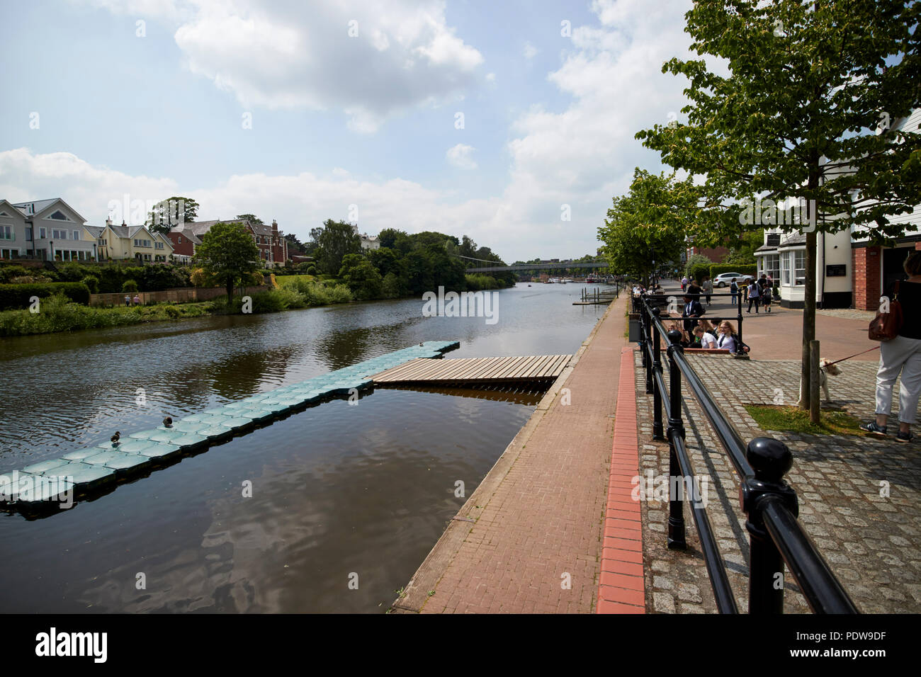 floating pontoon outside chester rowing club on the river dee in chester cheshire england uk - Stock Image