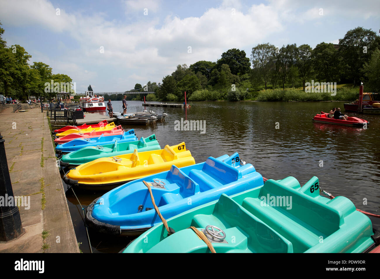 pedal boats for hire on the river dee in chester cheshire england uk Stock Photo