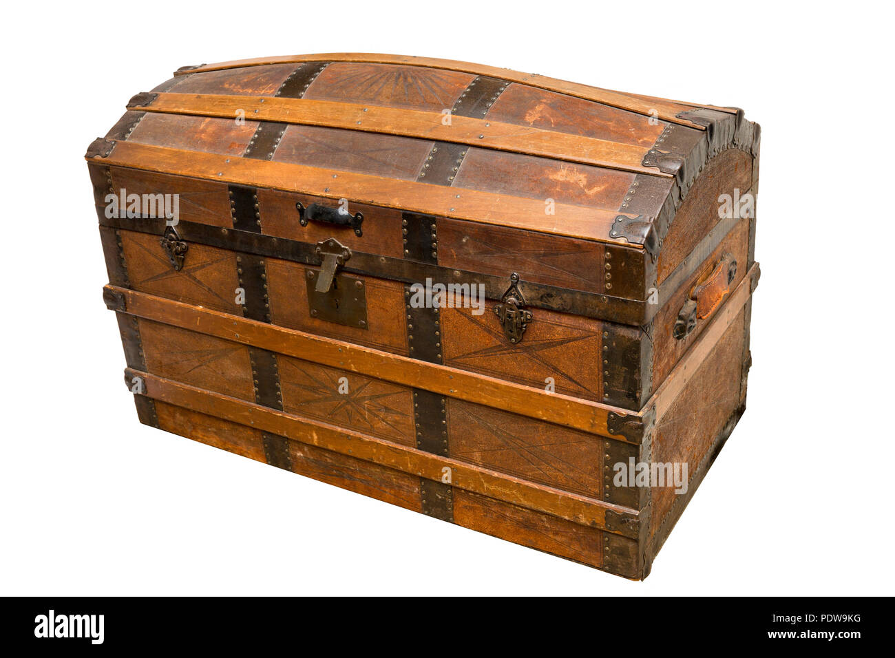 Victorian Dome topped steamer trunk with riveted metal banding and tooled leather decoration - Stock Image