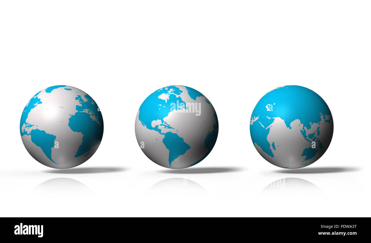 Set of 3D globe showing earth with all continents, isolated on white background - Stock Image