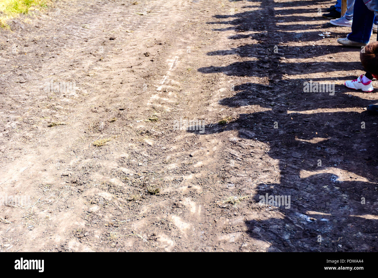 Shadows of audience on dry and dusty race track, bleachers are at open air arena. - Stock Image