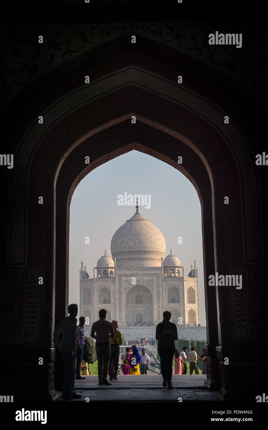AGRA, INDIA - MAY 2 : Taj Mahal (Crown of Palaces), an ivory-white marble mausoleum on the south bank of the Yamuna river in Agra, Uttar Pradesh, Indi - Stock Image