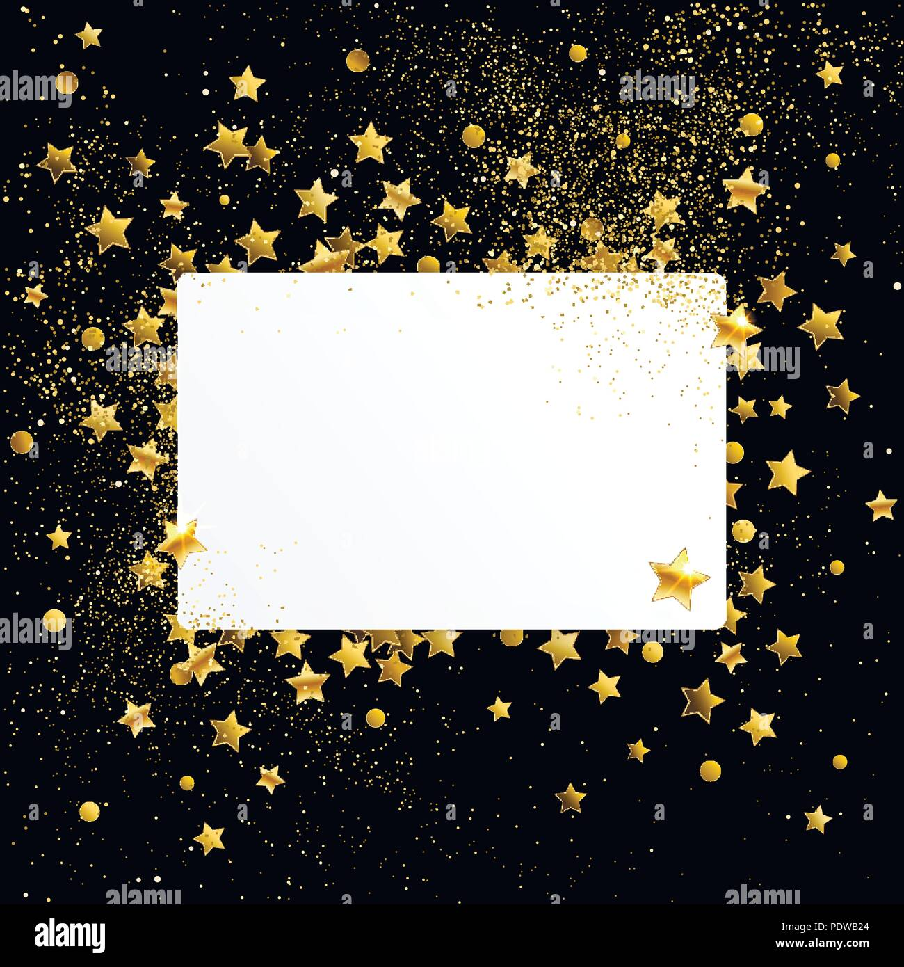 Empty White Banner With Gold Confetti Stars On A Black Background