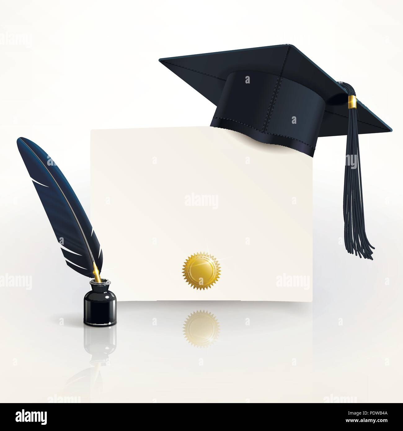 diploma of graduation with a graduate cap and pen - Stock Vector