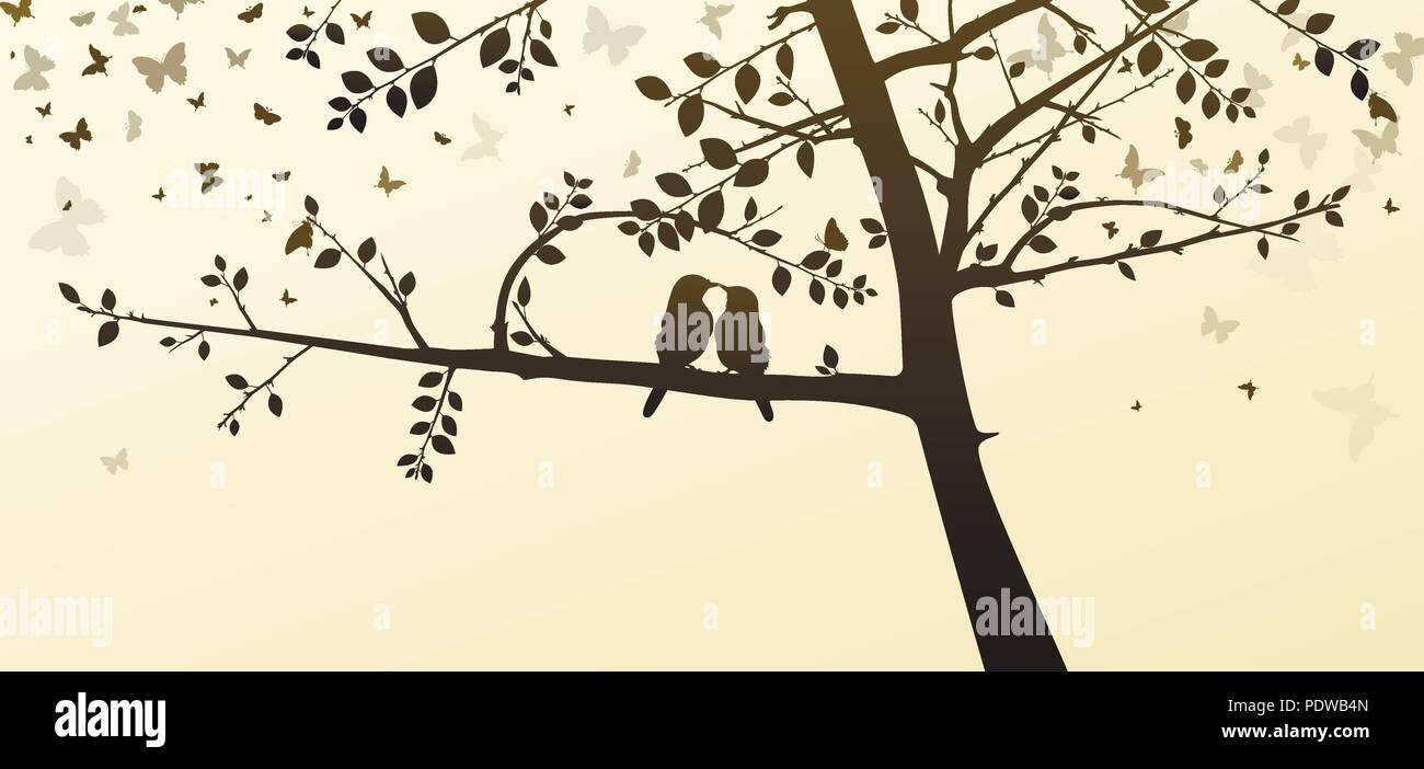 enamored birds sitting on a tree in a romantic setting on a light background - Stock Vector