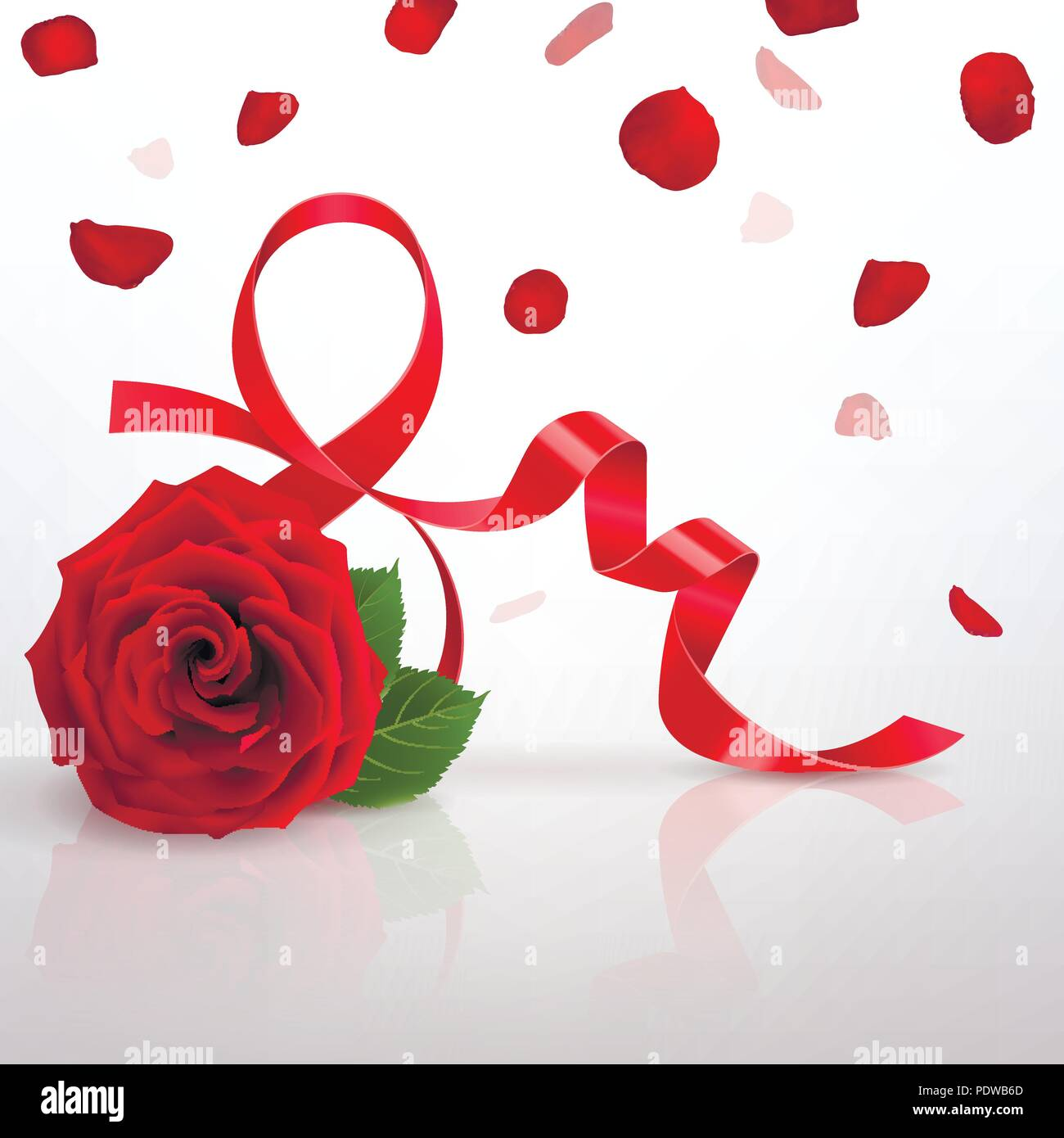 Greeting Card With International Womens Day And Red Rose On A Light