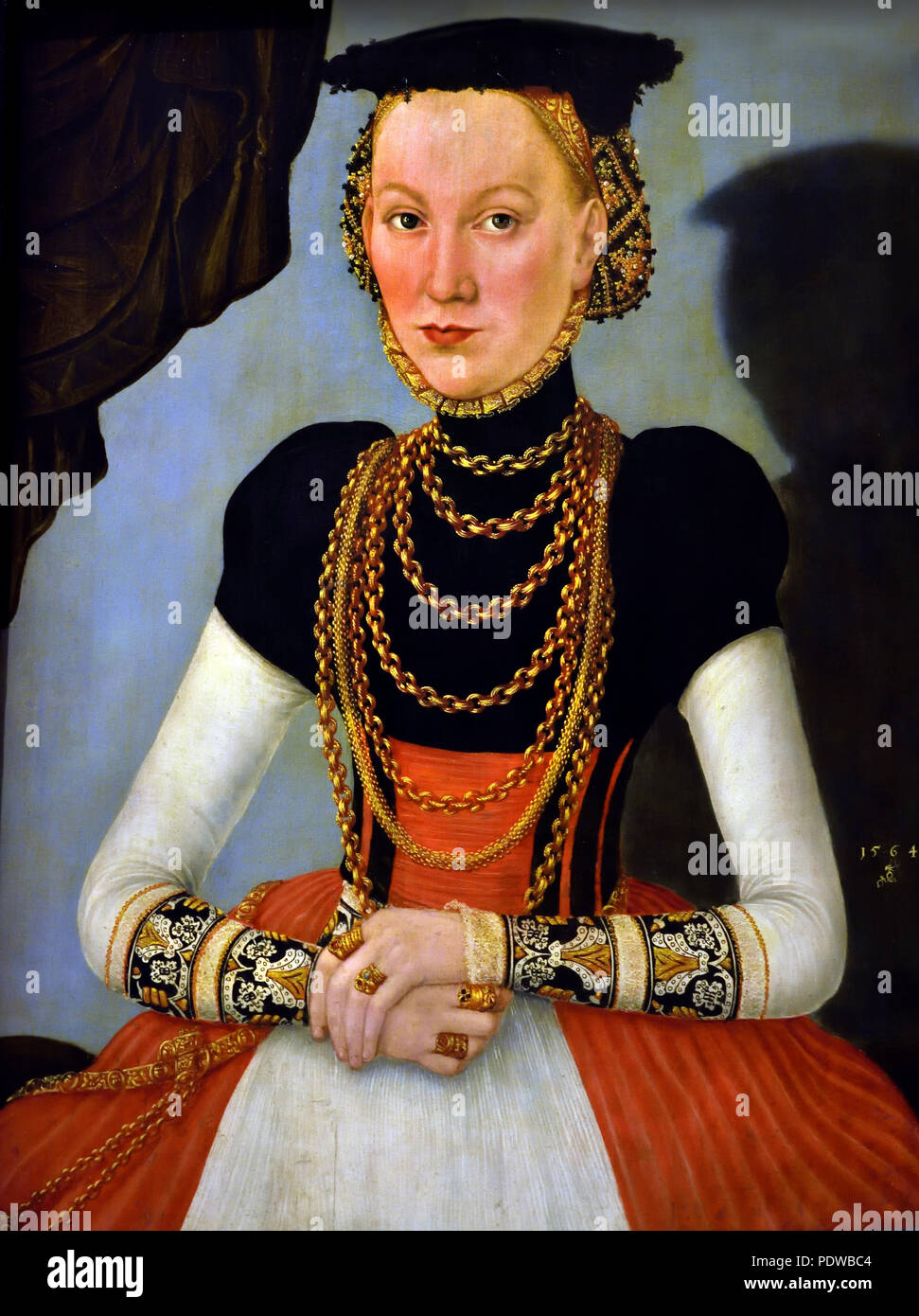 Female portrait 1564 Lucas Cranach the Younger . Wittenberg 1515-1586 German Germany - Stock Image