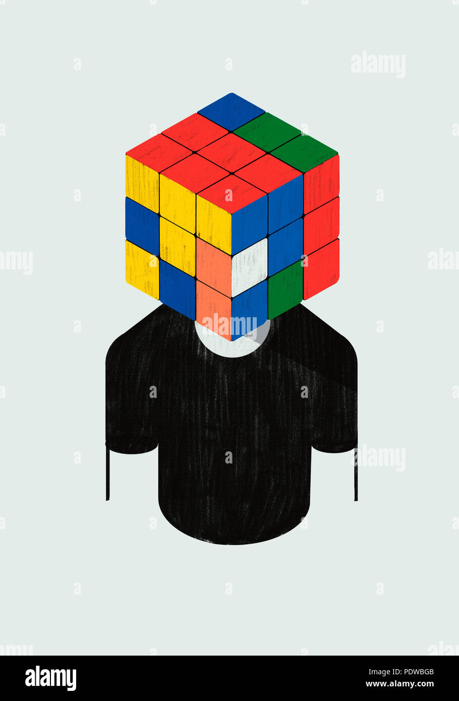 Psychology. Concept. Mind as a Rubik cube colorful metaphor. - Stock Image