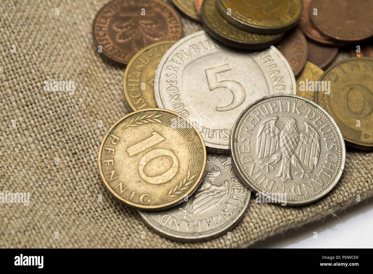 Old German Currency - Deutsche Mark und Pfennige - Stock Image