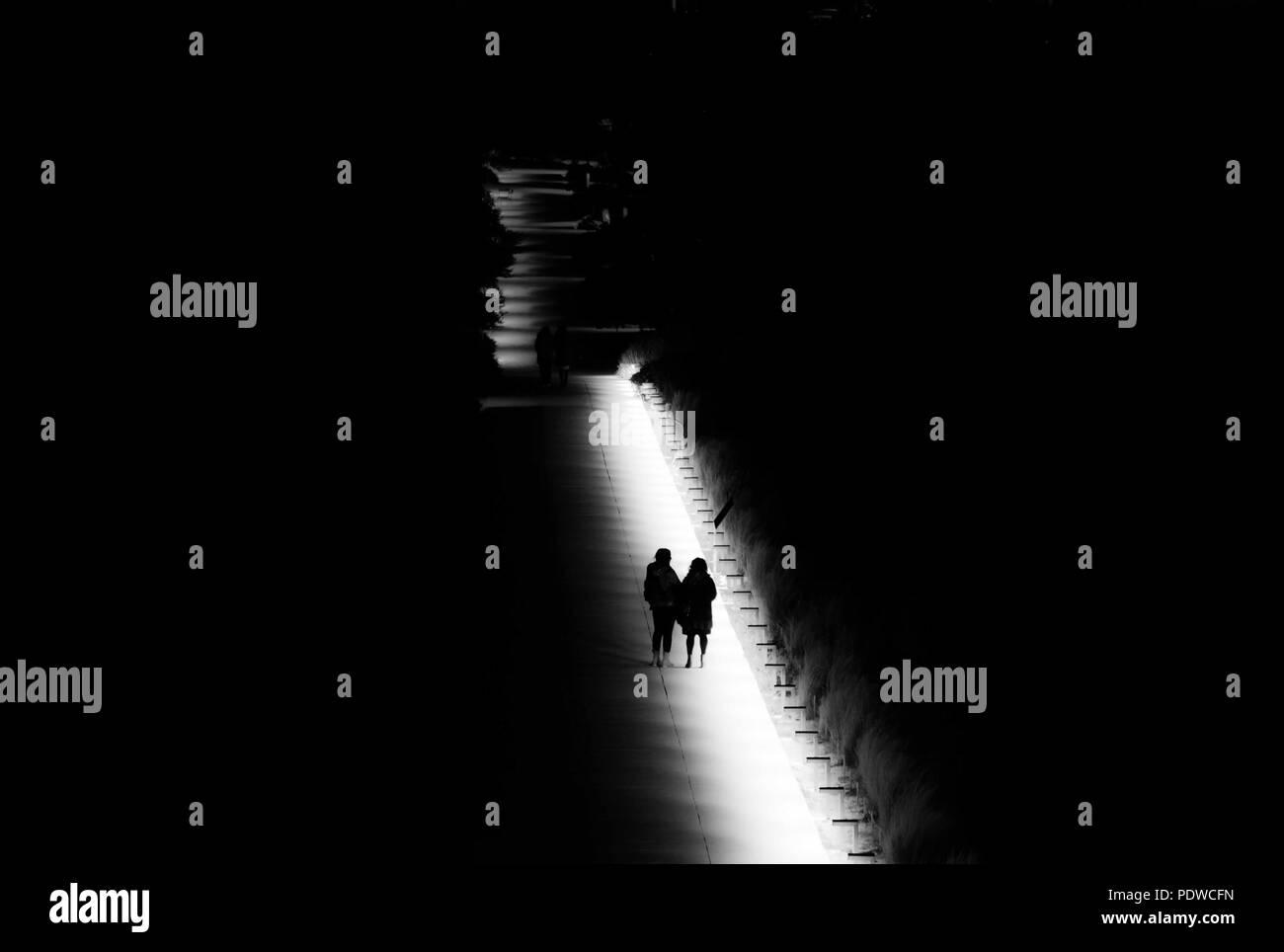 Night walk at a park - Stock Image