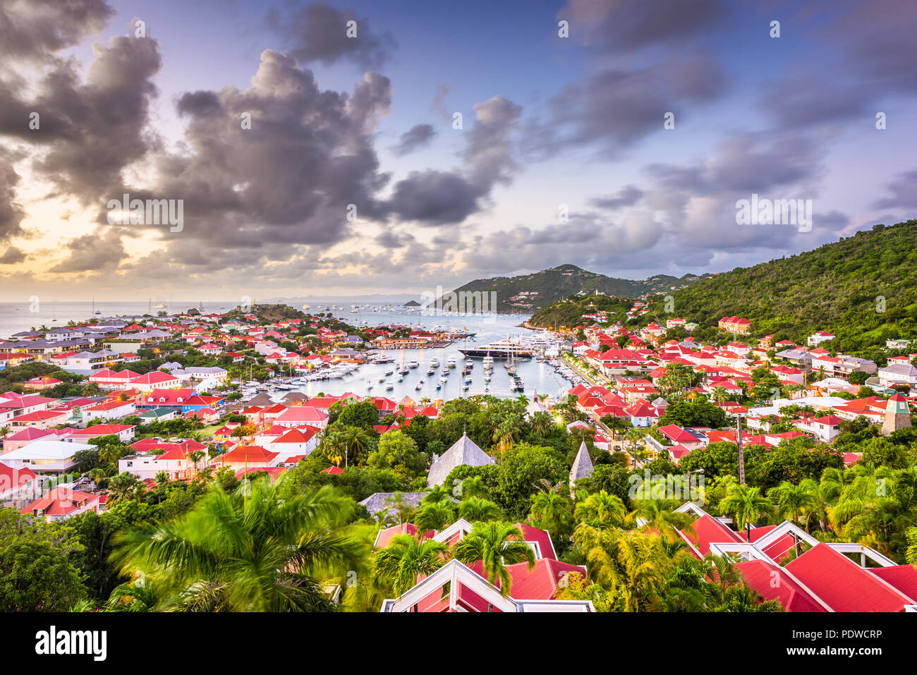 Gustavia, St. Barths town skyline in the Carribean at dusk. Stock Photo