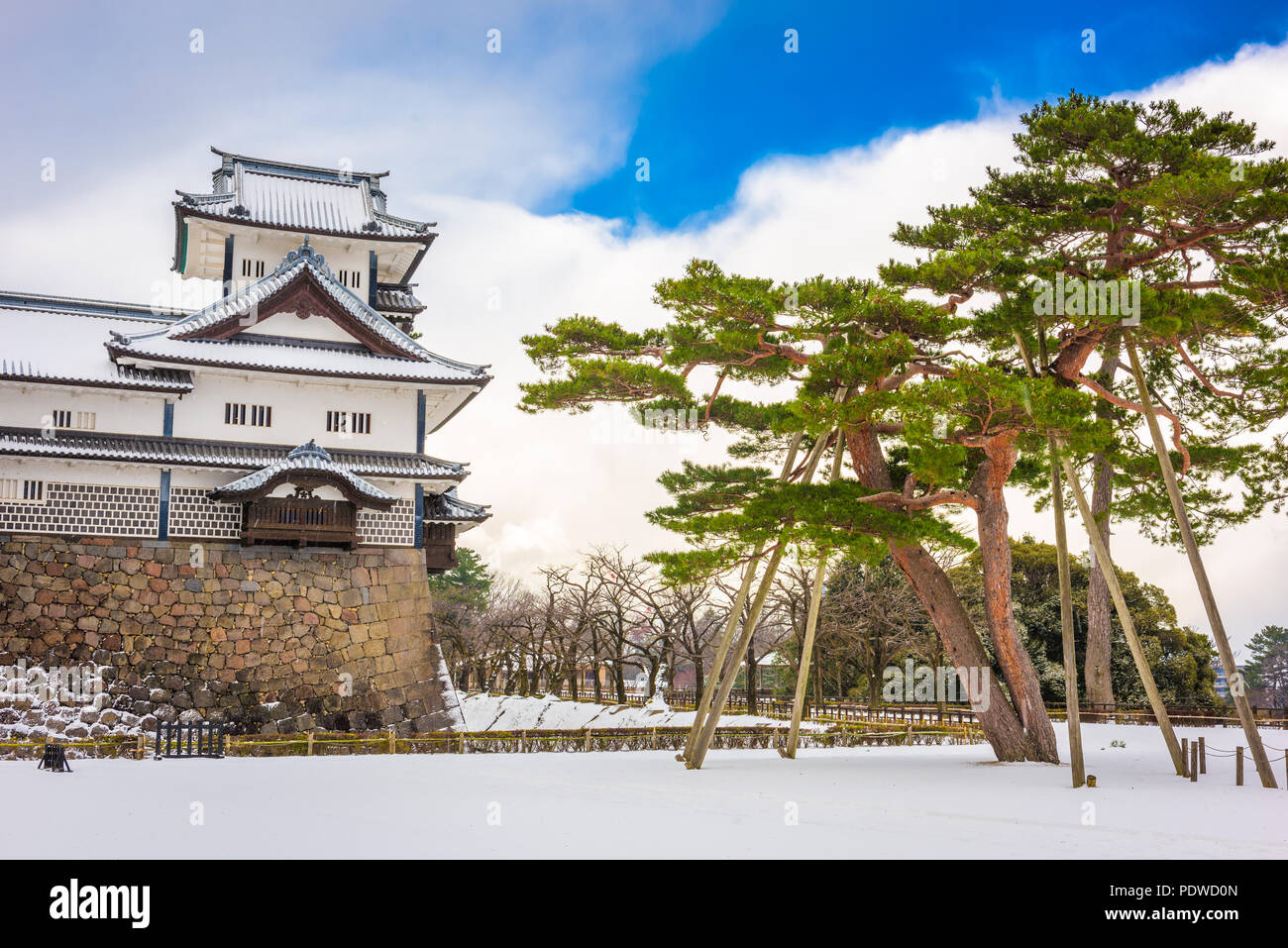 Kanazawa, Japan at the castle in wnter. - Stock Image