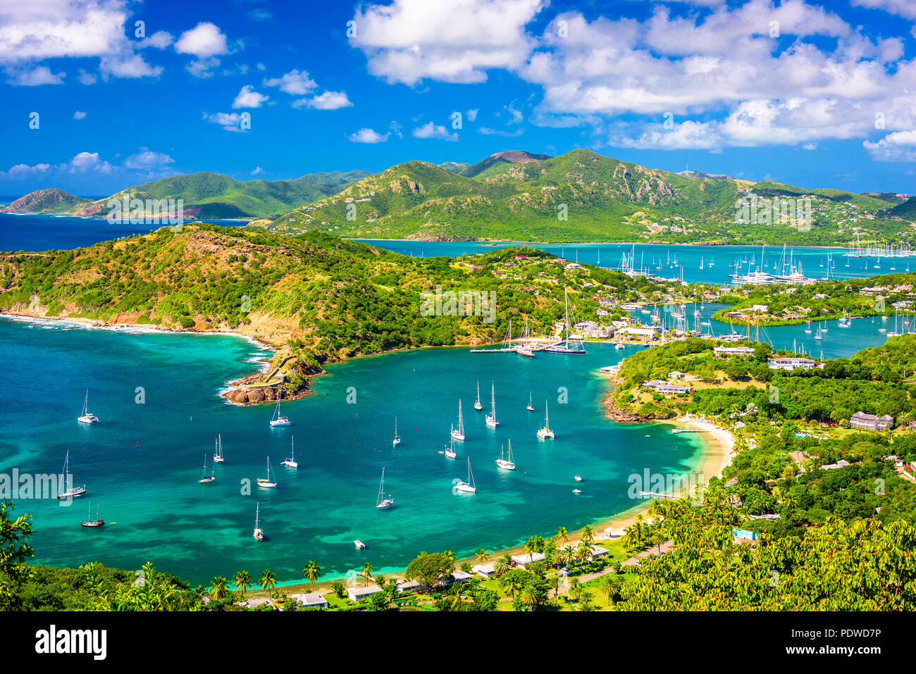 Shirley Heights, Antigua and Barbuda view from the overlook. - Stock Image