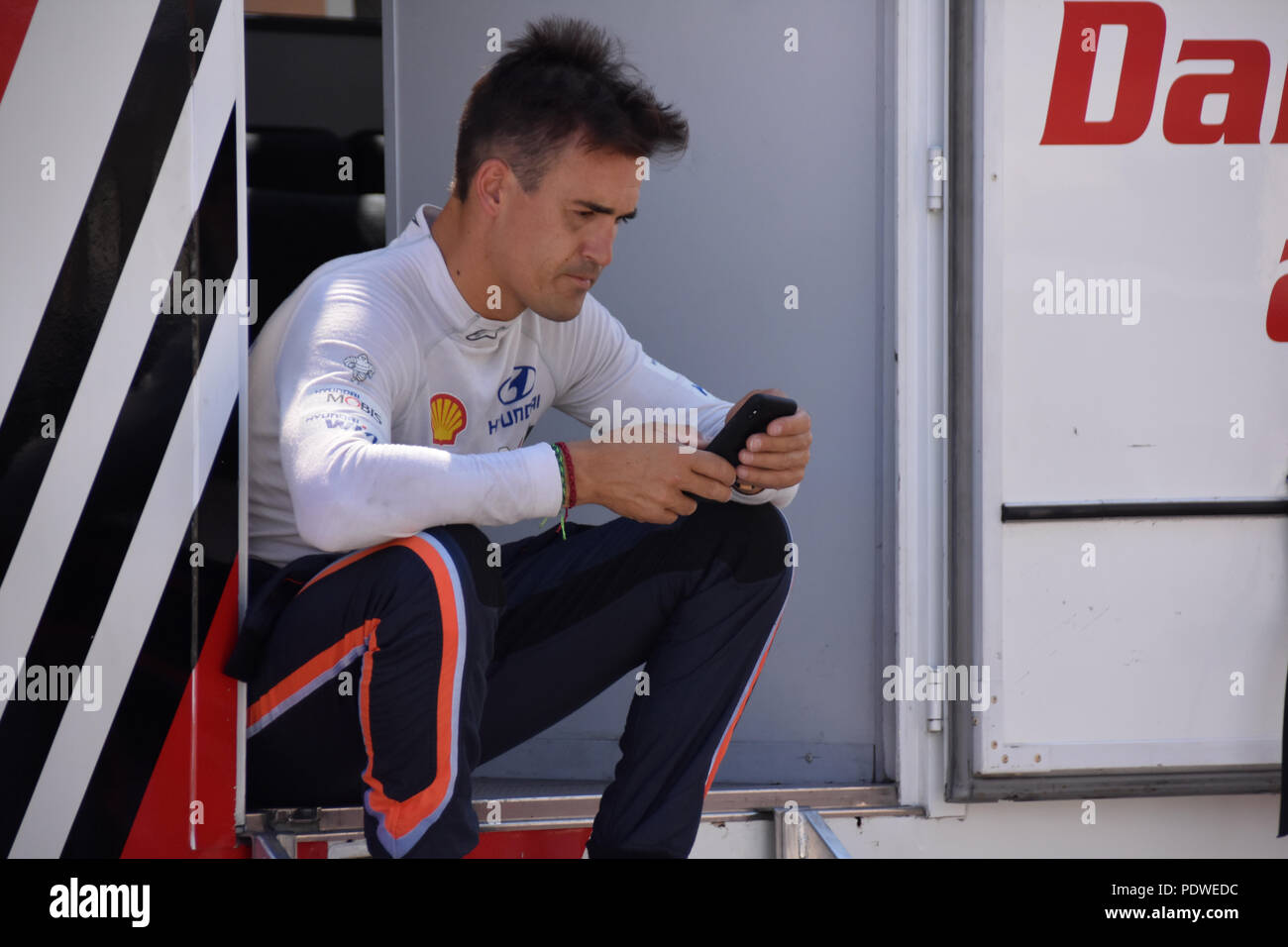 Spanish rally driver Dani Sordo is seen during tests of his Hyundai R5 race car prior to the upcoming Barum rally Zlin, Sobenov, Cesky Krumlov distric - Stock Image
