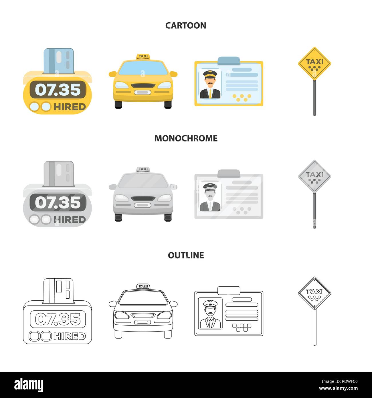 The counter of the fare in the taxi, the taxi car, the driver badge, the parking lot of the car. Taxi set collection icons in cartoon,outline,monochro - Stock Image