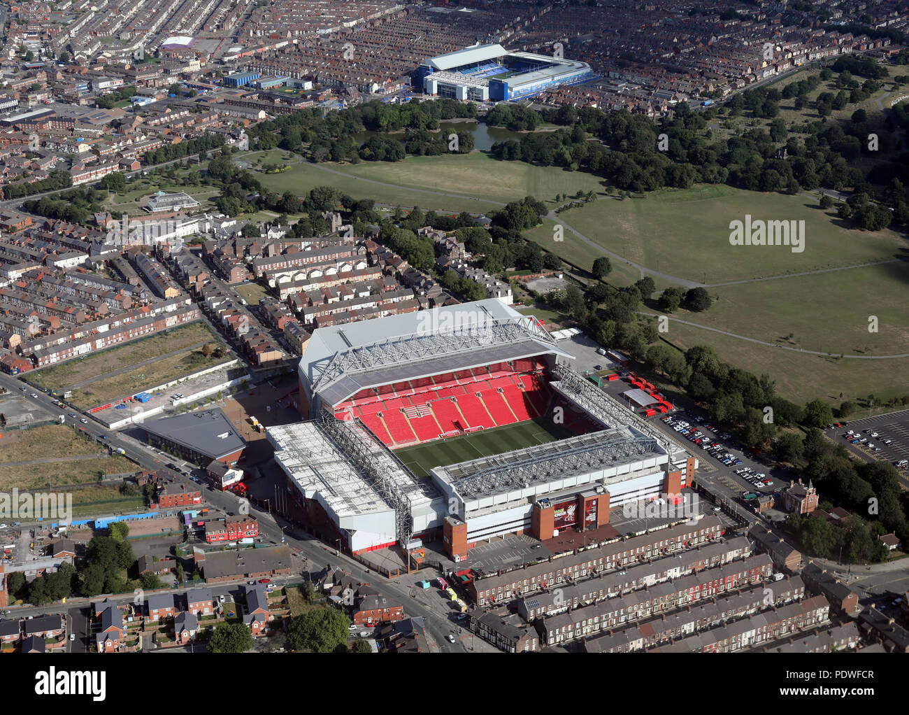 aerial view of Liverpool FC Anfield & Everton Goodison Park Stadia football grounds, England Stock Photo