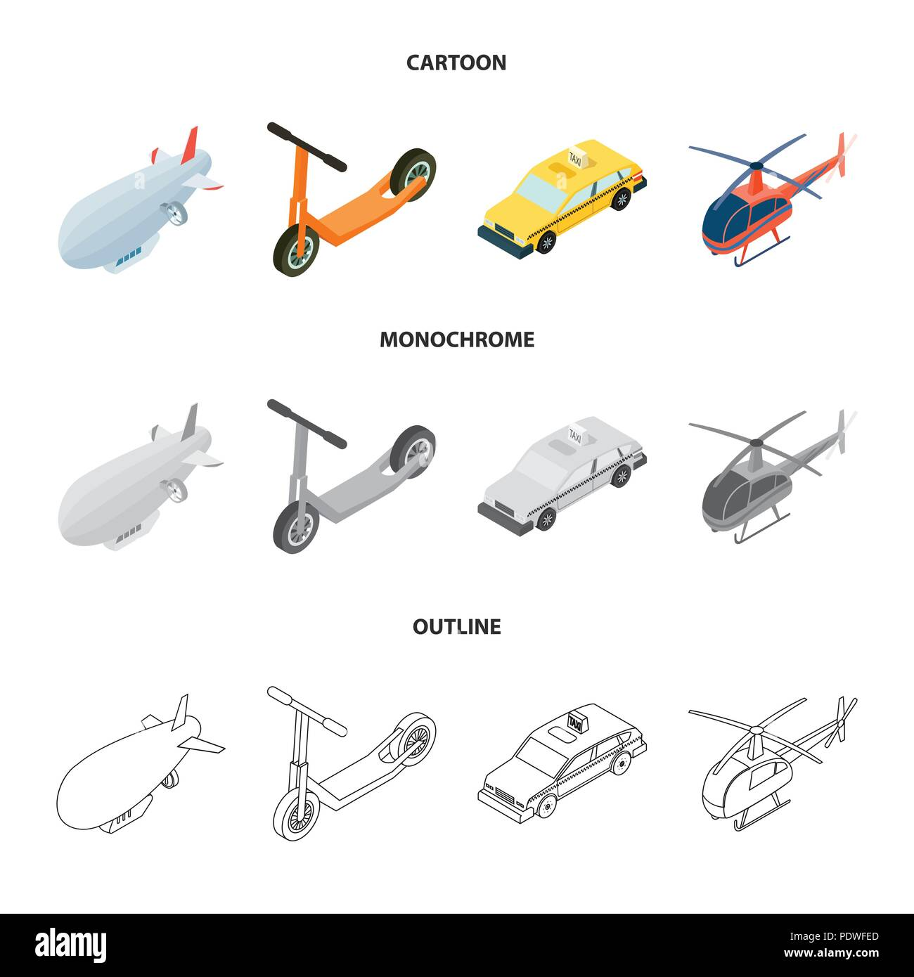 A dirigible, a children scooter, a taxi, a helicopter.Transport set collection icons in cartoon,outline,monochrome style vector symbol stock illustrat Stock Vector
