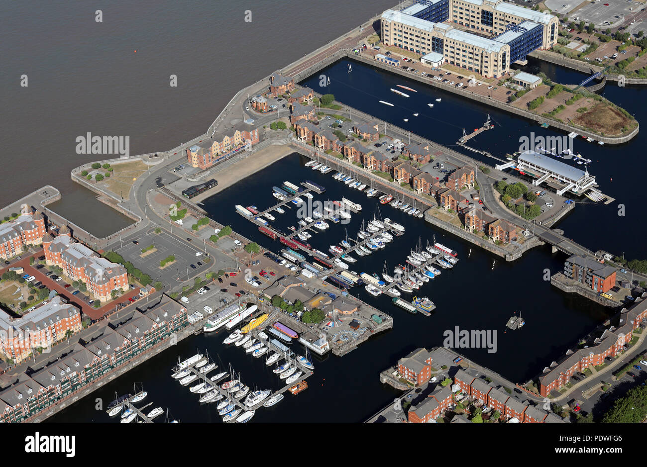 aerial view of Liverpool Marina on the Mersey, UK - Stock Image