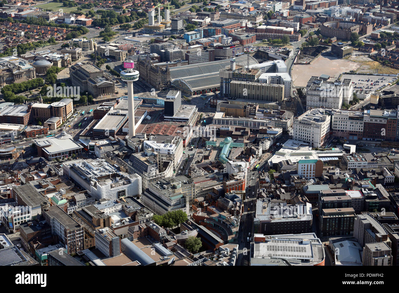 aerial view of Liverpool city centre including Radio City Tower and Lime Street Station - Stock Image