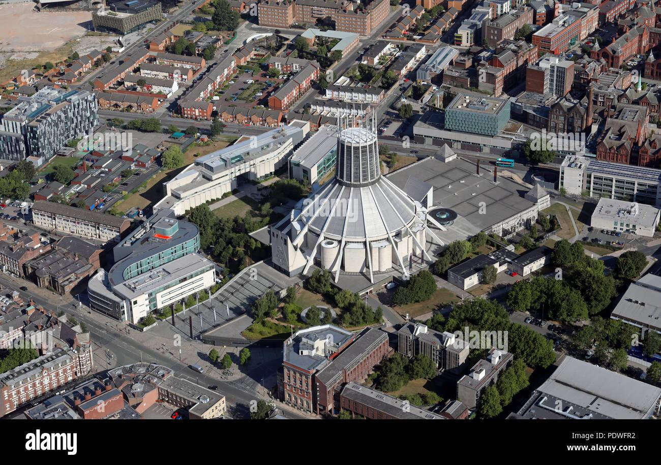 aerial view of Liverpool Metropolitan Cathedral (Roman Catholic), Merseyside, UK - Stock Image