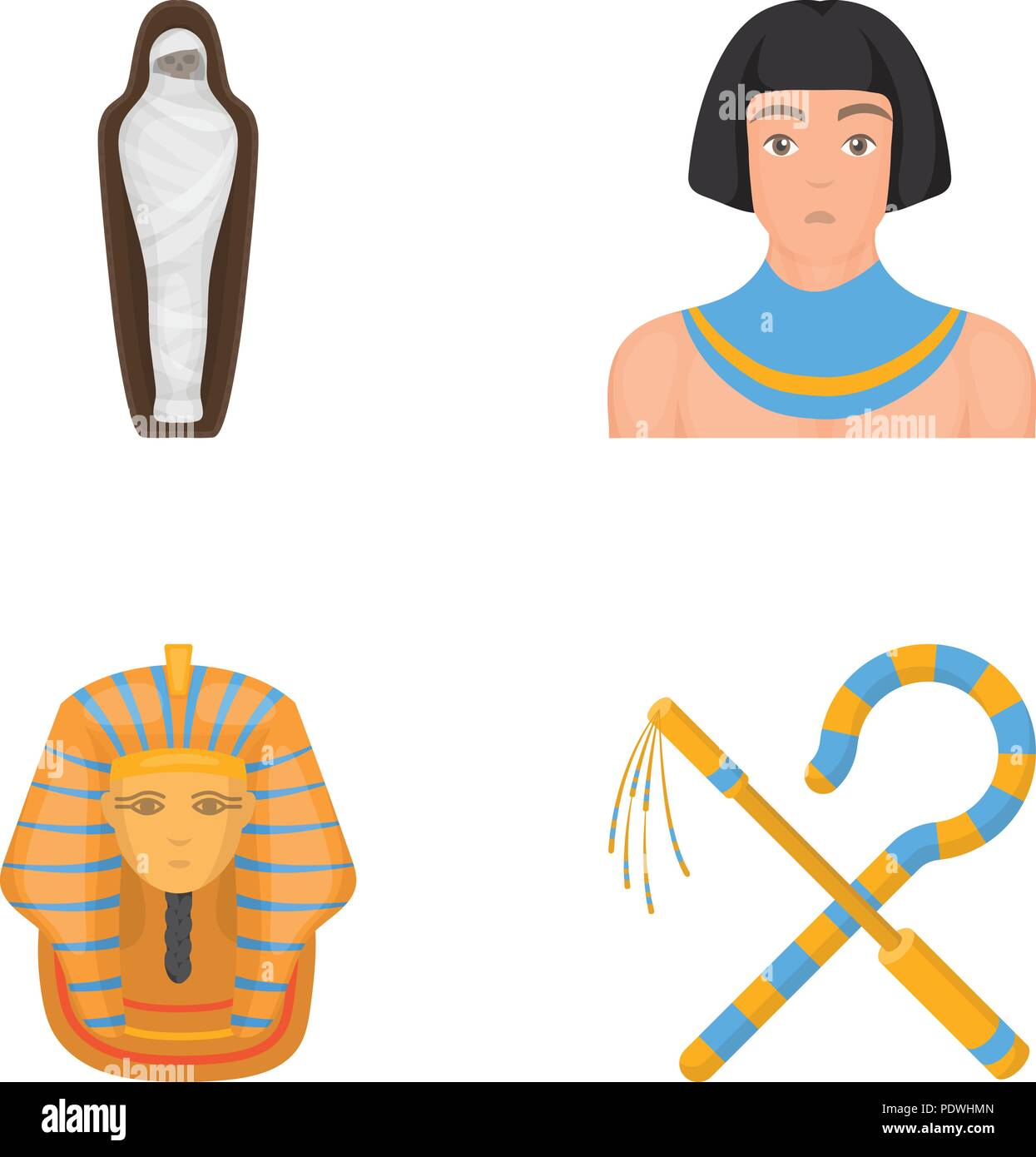 Crook And Flail A Golden Mask An Egyptian A Mummy In A Tomb