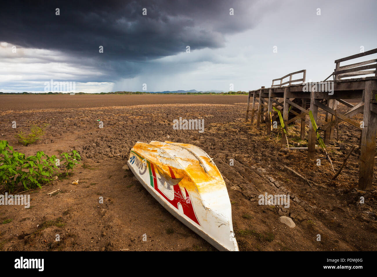Drought in the protected wetland Cienaga de las Macanas in the Herrera province, Republic of Panama. Stock Photo