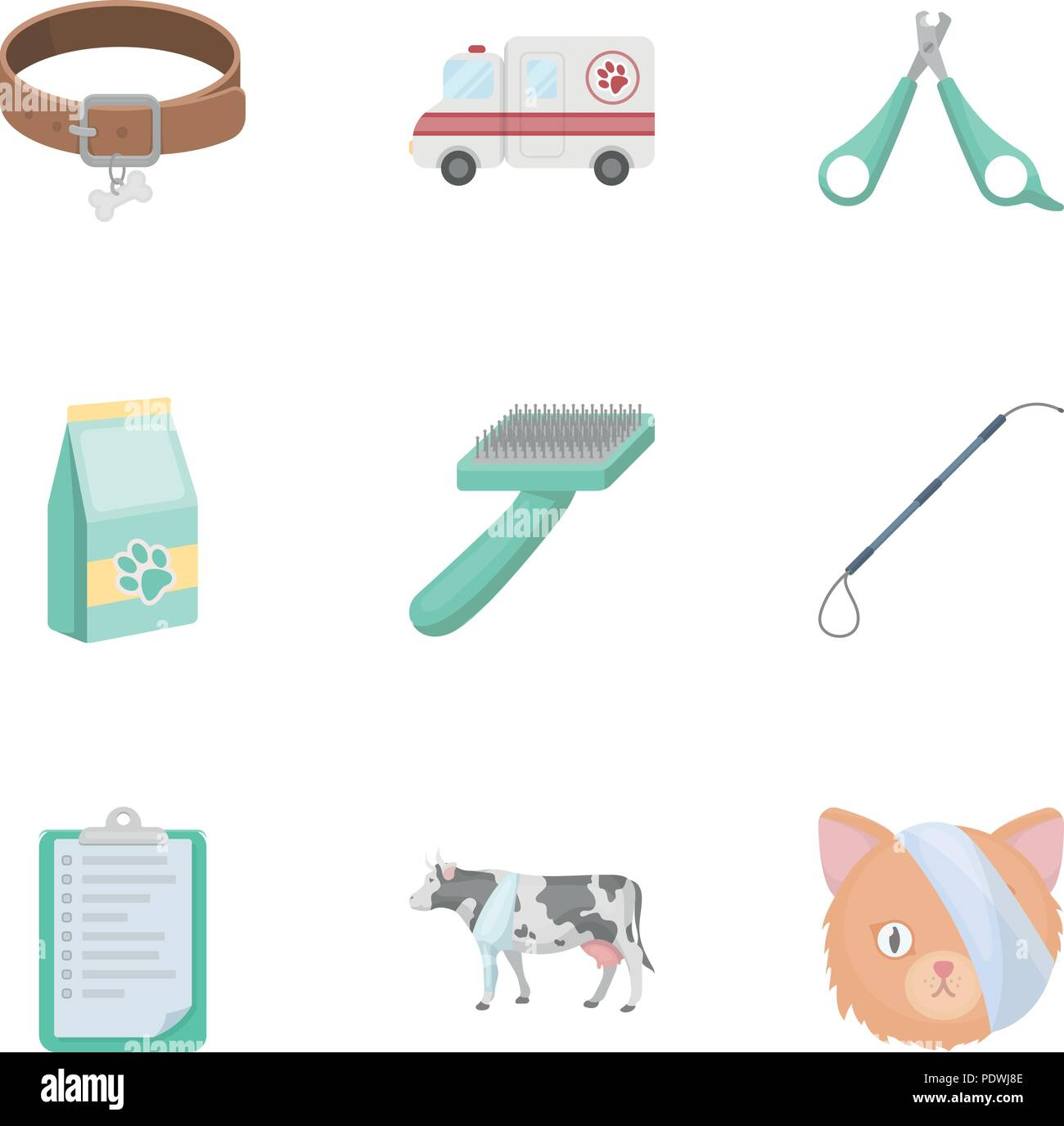 Vet clinic. Treatment of sick animals. Hospital for animals.Vet clinic icon in set collection on cartoon style vector symbol stock web illustration. - Stock Image