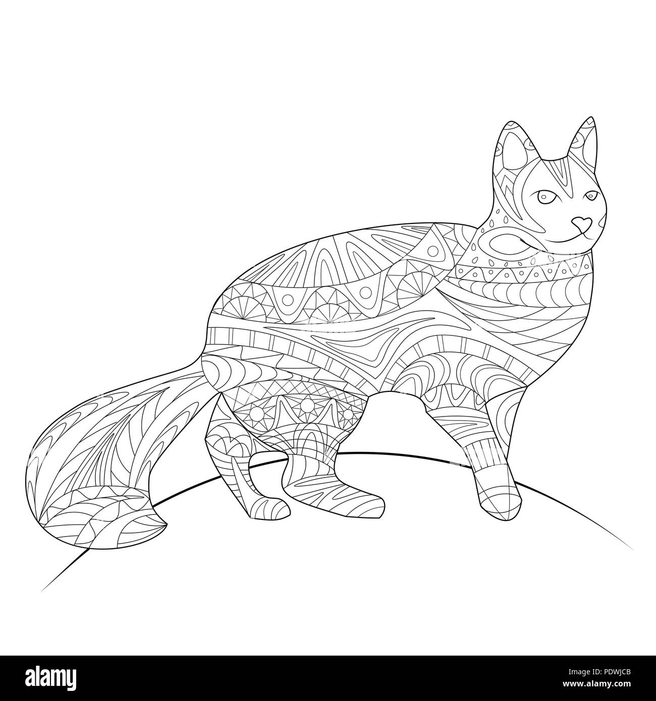 Coloring Book Page Animal Cat Pattern Vector