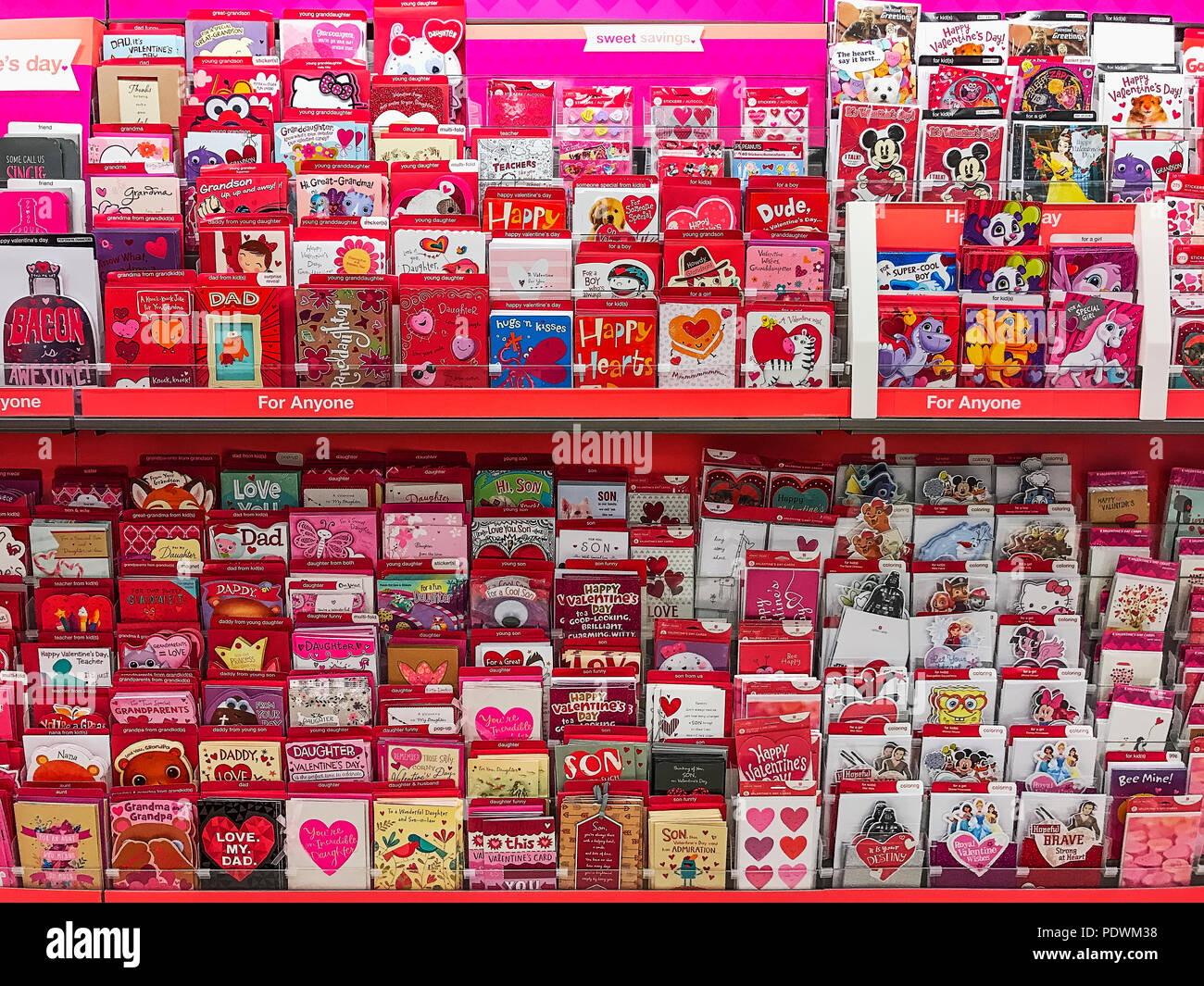 Greeting card rack stock photos greeting card rack stock images rack of valentine cards in a greeting card shop stock image m4hsunfo