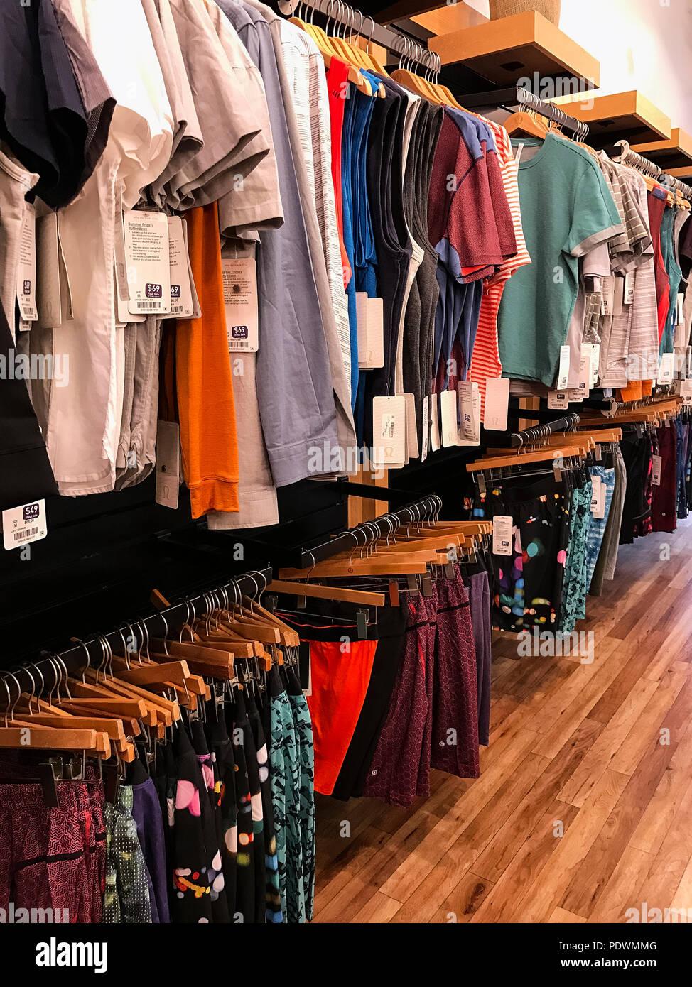 Retail mens clothing store, USA. - Stock Image