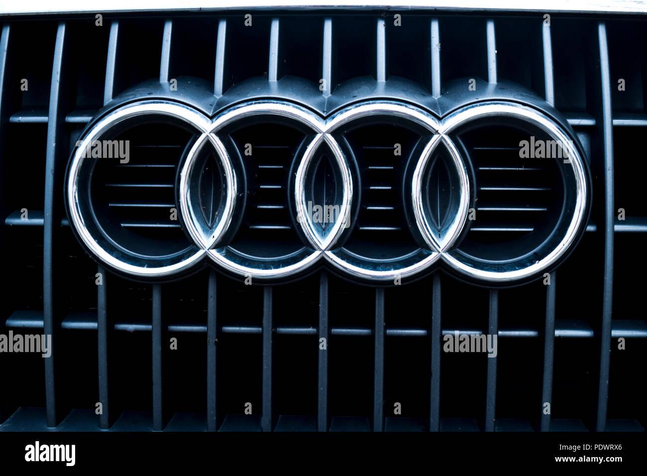 Logo Of Luxury Car Manufacturer Audi Stock Photo 215082510 Alamy