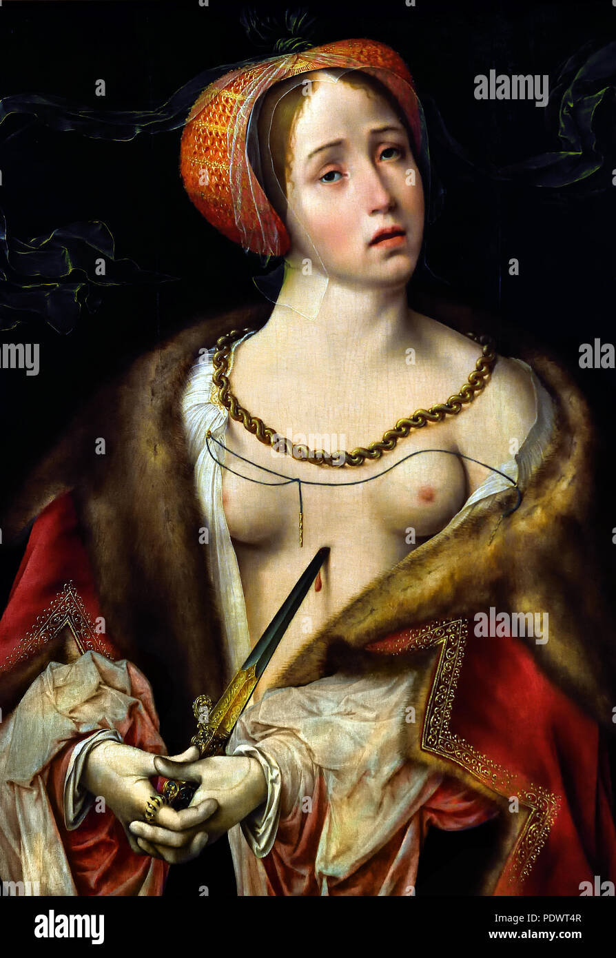 The Suicide of Lucretia, 1520/25 Joos van Cleve (1485-1540/1541) Flemish Belgian Belgium ( Lucretia, legendary heroine of ancient Rome. According to tradition, she was the beautiful and virtuous wife of the nobleman Lucius Tarquinius Collatinus. Her tragedy began when she was raped by Sextus Tarquinius, son of Lucius Tarquinius Superbus, the tyrannical Etruscan king of Rome.  ) Stock Photo