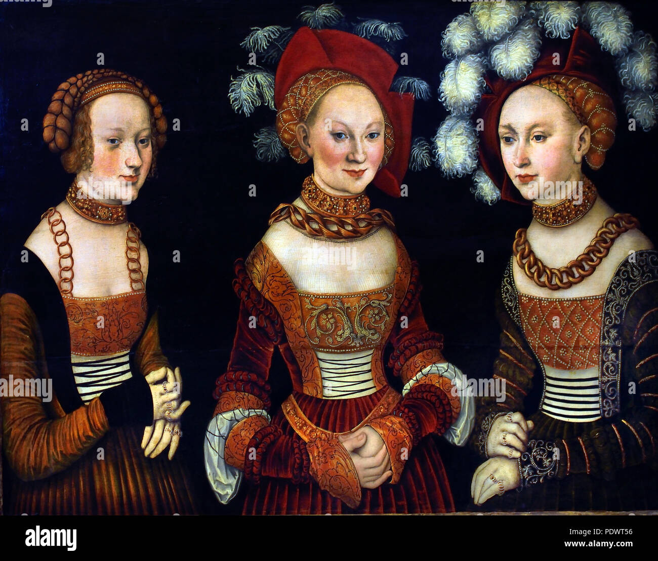 The princesses Sibylla (1515-1592), Emilia (1516-1591) and Sidonia (1518-1575) of Saxony Lucas Cranach the Elder 1472 - 1553 German Germany ( Porträt der drei Töchter Herzog Heinrichs des Frommen - Portrait of the three daughters Duke Henry the Pious ) - Stock Image