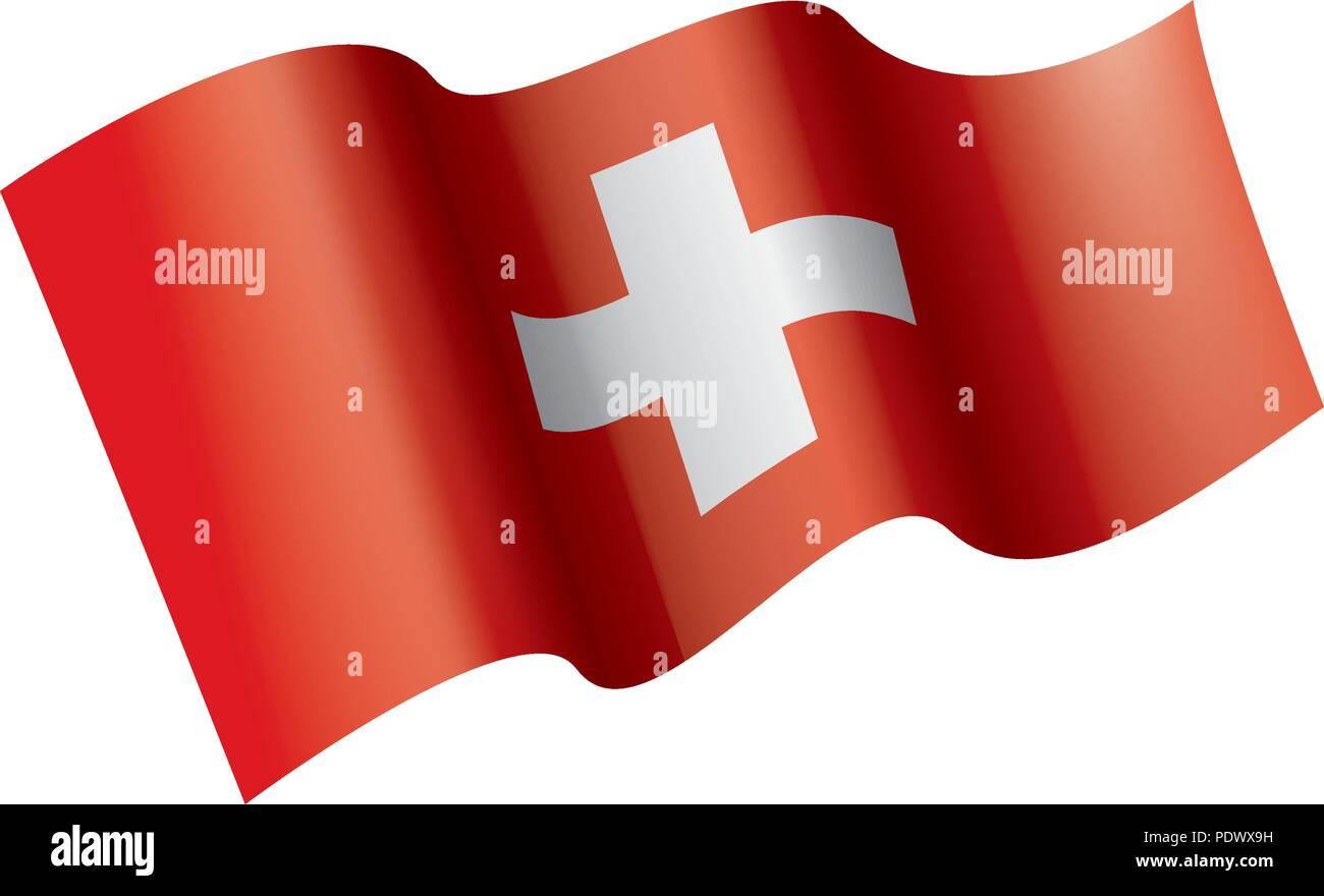 Switzerland flag, vector illustration on a white background - Stock Vector