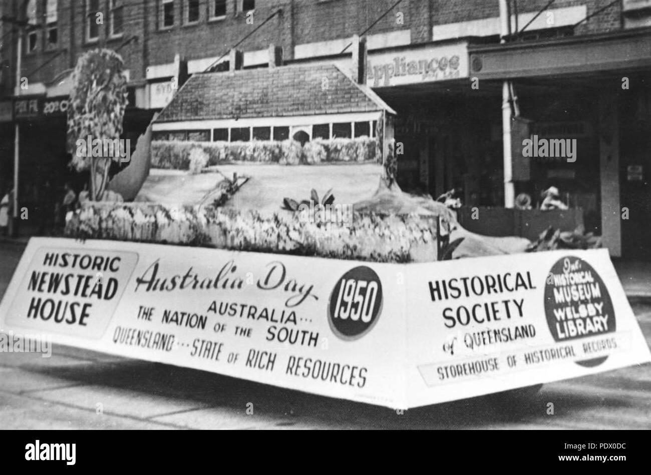 233 StateLibQld 1 153307 Historical Society of Queensland float on  Australia Day, Brisbane, 1950
