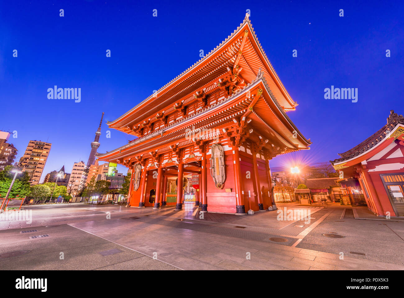Tokyo, Japan at Sensoji Temple in the Asakusa district at dusk. - Stock Image