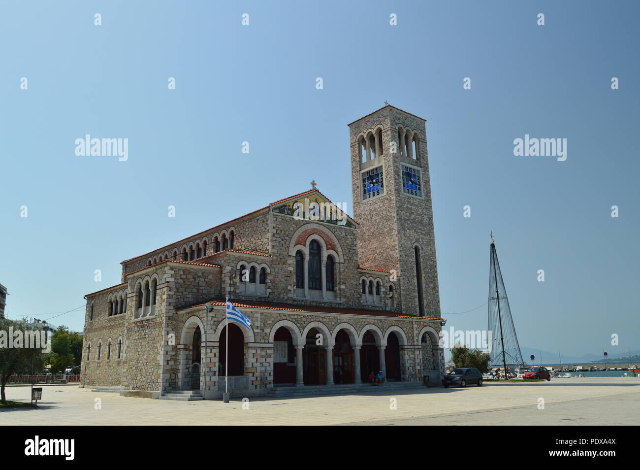 Orthodox Church Of Konstantinos On Its Main Facade. Architecture History Travel.4 July 2018. Volos. Magnesia. Greece. - Stock Image