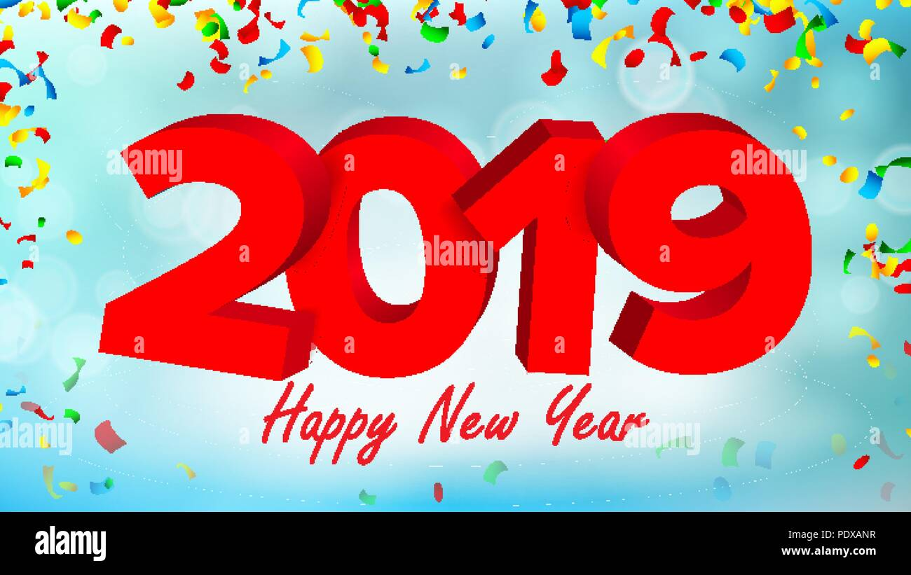 2019 3d sign vector sign numbers 2019 modern christmas brochure seasonal flyer red happy new year background illustration