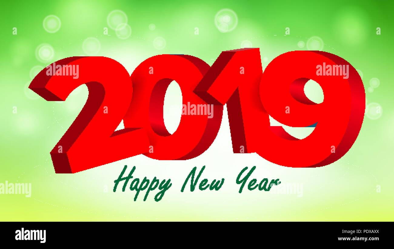 2019 3d sign vector numbers 2019 sign brochure holiday happy new year celebration banner card illustration