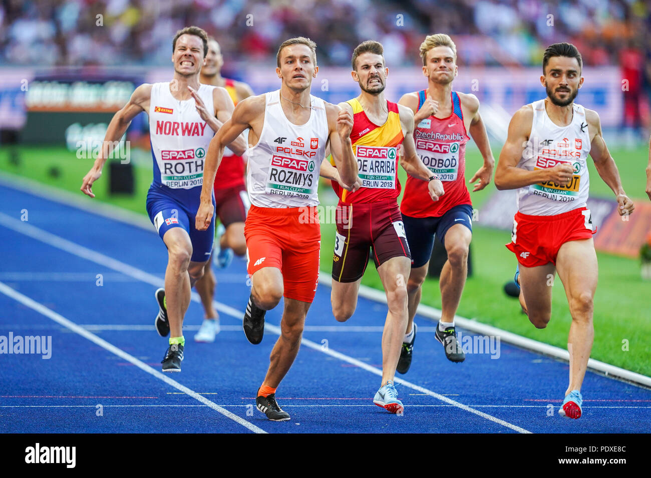 Berlin, Germany. August 10, 2018: Adam Kszczot of  Poland and Rozmys of  Poland ending up as number one and two in the 800 meter semi-final for men at the Olympic Stadium in Berlin at the European Athletics Championship. Ulrik Pedersen/CSM Credit: Cal Sport Media/Alamy Live News - Stock Image