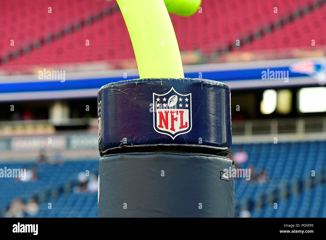 August 9, 2018: The BFL logo sits atop padding on a goal post at the NFL pre-season football game between the Washington Redskins and the New England Patriots at Gillette Stadium, in Foxborough, Massachusetts.The Patriots defeat the Redskins 26-17. Eric Canha/CSM - Stock Image