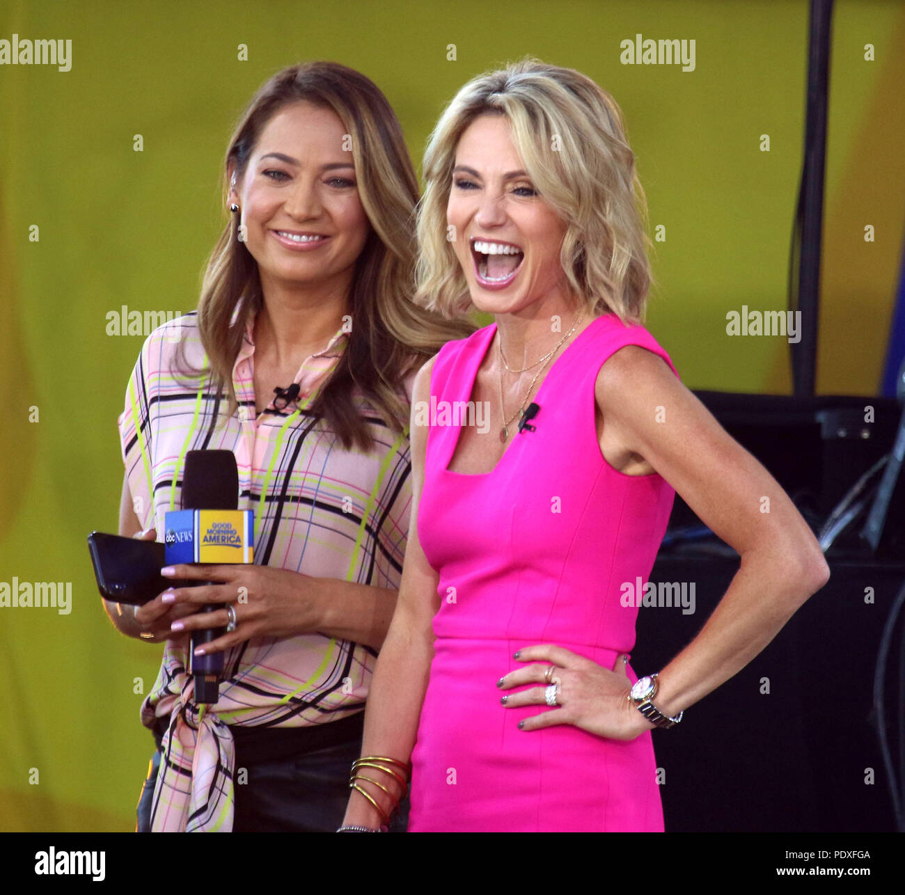 New York City, New York, USA. 10th Aug, 2018. 'GMA' hosts GINGER ZEE and AMY ROBACH from 'The Chainsmokers' performs on 'Good Morning America' held in Central Park. Credit: Nancy Kaszerman/ZUMA Wire/Alamy Live News Stock Photo
